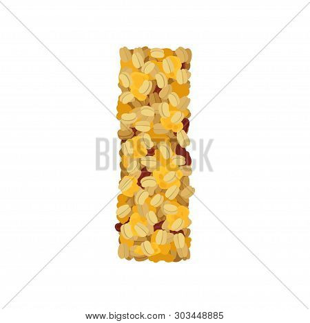 Crispy Muesli With Raisins And Cereal Close-up. Vector Illustration On White Background.