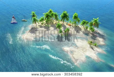 Sandy beach on a tropical island with coconut palms. Small sailboats by the shore. 3D illustration.