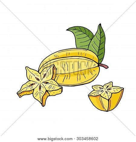Carambola Or Starfruit.yellow Tropical Fruits And Pieces On White Background.