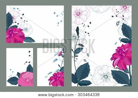 Art Floral Greeting And Business Card. Patterns With Pink Dahlias And Mallows With Green Stems And L