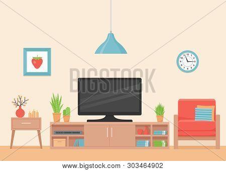 Living Room Interior. Vector. Room With Coral Armchair, Tv And Tv Stand. Modern House Background Wit