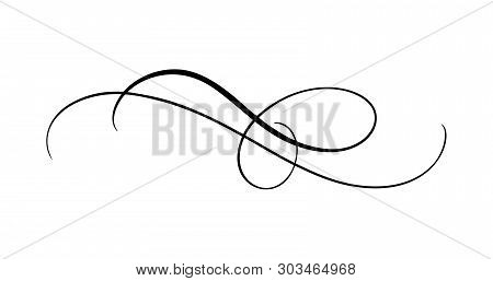 Vector Calligraphy Element Flourish. Hand Drawn Divider For Page Decoration And Frame Design Illustr