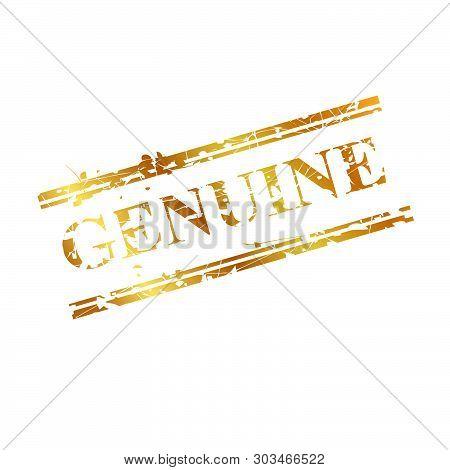 Vector Genuine, Streak Golden Rubber Stamp, Isolated On White