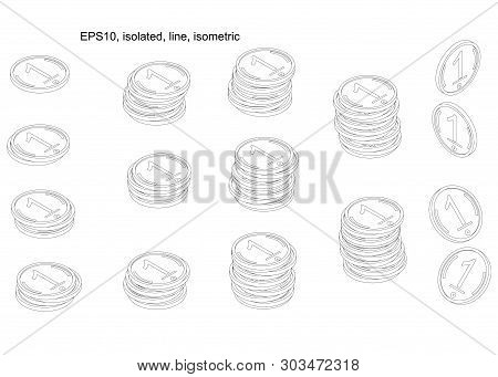 A Stairway Or Podium Of Line Coins. Isometric. Money Isolated On A White Background. Vector Illustra