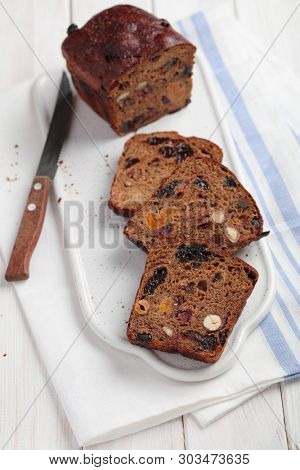 Fruchtebrot, traditional Austrian and German fruit bread with raisins, hazelnuts, and other fruits