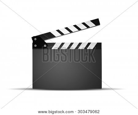 Blank clapperboard on white background, including clipping path