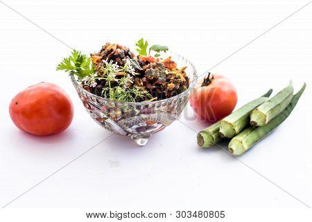 Popular Indian Lunch Dish Isolated On White I.e. Bhareli Bhindi Or Bareli Bindi Or Fried Crispy Stuf
