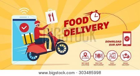 Fast Food Delivery App On A Smartphone With Delivery Man On A Scooter: How To Order Food Online