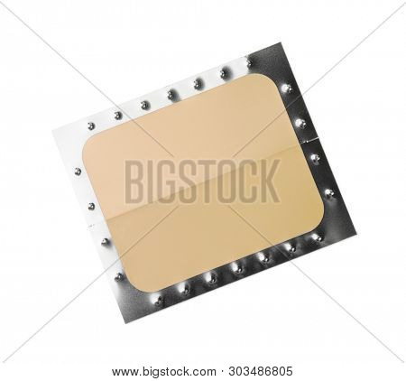 Top view of unused nicotine patch isolated on white