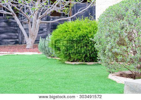 Garden Landscape.landscaped Formal, Front Yard With Garden Design.