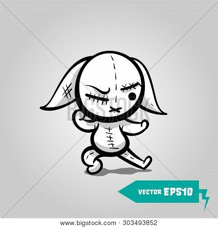 Cute Evil Rabbit Halloween Sticker. Angry Sewn Voodoo Bunny. Comic Book Sketch Vector. Stitched Thre