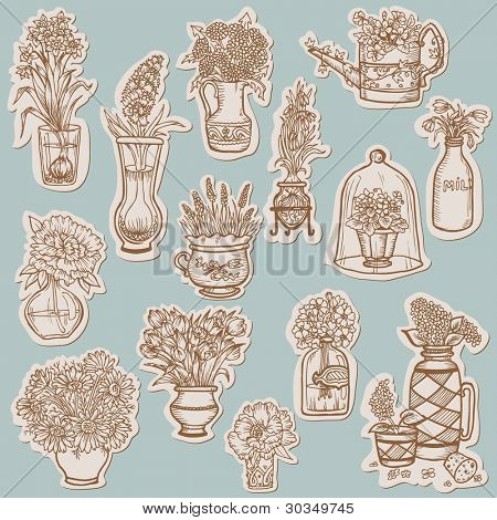 Flower Collection on tags - for scrapbook, desgin in vector