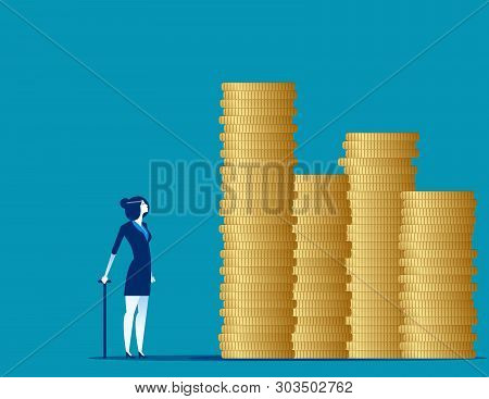 Old Woman Looking At His Savings. Concept Business Vector Illustration.