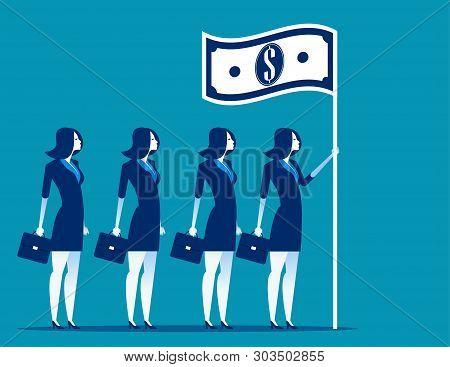 Social Capitalism. Business Leader Holding Flag. Concept Business Vector Illustration.