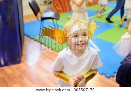 Little Boy Involved In Performance Children's Theatre Studio.