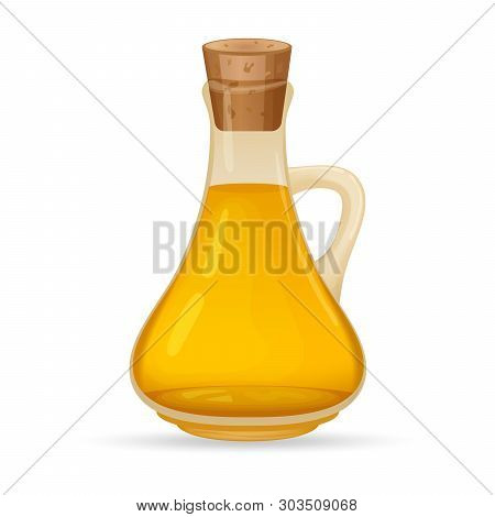 Carafe With Oil, Isolated On White Background. Glass Jug With Oil. Vector Illustration.