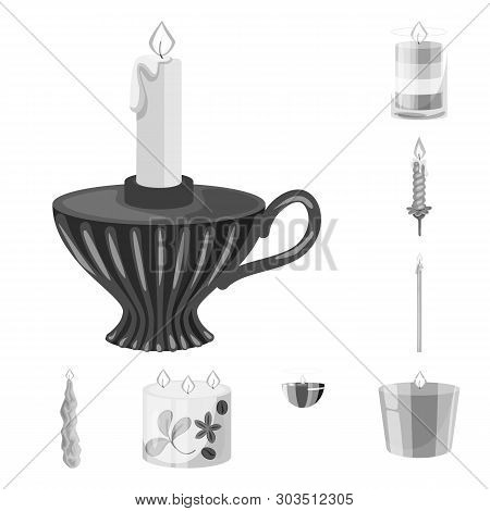 Isolated Object Of Paraffin And Fire  Logo. Collection Of Paraffin And Decoration    Stock Vector Il