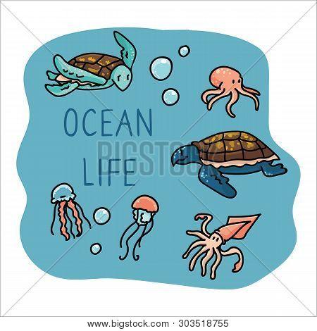 Cute Ocean Life Set Cartoon Vector Illustration Motif Set. Hand Drawn Isolated Starfish, Turtle, Jel