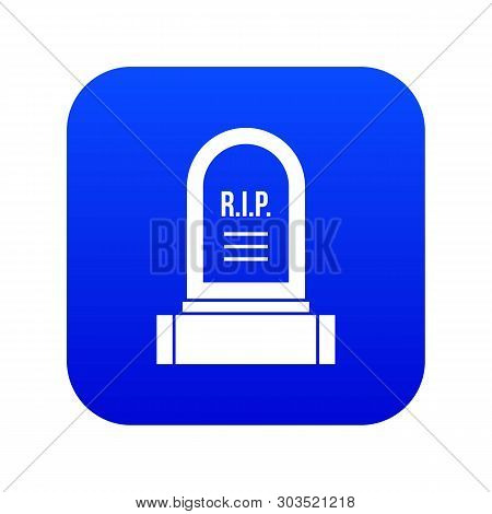 Headstone Icon Digital Blue For Any Design Isolated On White Vector Illustration