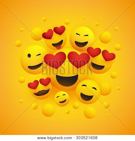 Various Smiling Happy Emoticons With Heart Shaped Eyes In Front Of A Yellow Background, Vector Desig