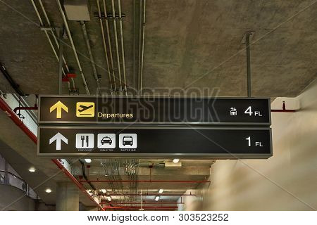 Departure Guide Information Board Sign With Yellow And Food Court With Transport White Character On