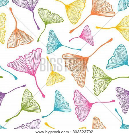 Vector Vintage Seamless Pattern With Ginkgo Biloba Leaf. Vector Retro Floral Pattern With Colorful G