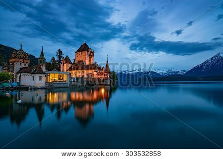 Nightscape Of Amazing Oberhofen Castle On Lake Thun, Switzerland