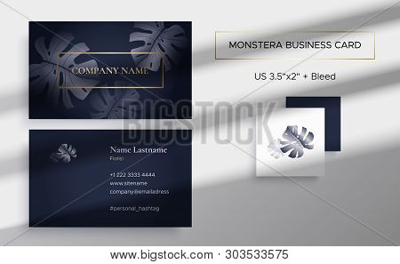 Template Of Double Sided Business Card With Monstera In Graphite Color And Gold. Monstera Leaves. Th