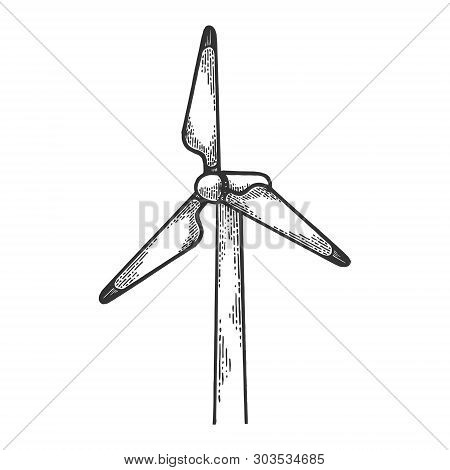Wind Turbine Power Plant Renewable Energy Industrial Technology Sketch Engraving Vector Illustration