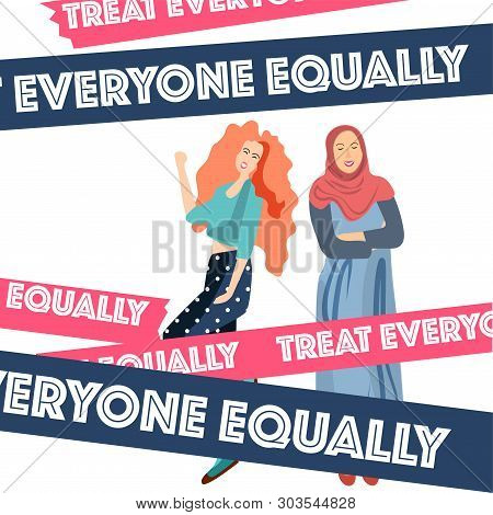 Muslim Woman In Hijab And European Girl Happy. The Concept Of Women Liberation, Equality, Feminism.