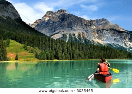 Boating on Emerald lake in Yoho national park Canadian Rockies poster