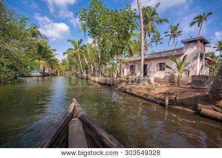 Munroe Island, Kollam, Kerala, India - May 26, 2019: Houses Near Backwater Canals In Munroe Island