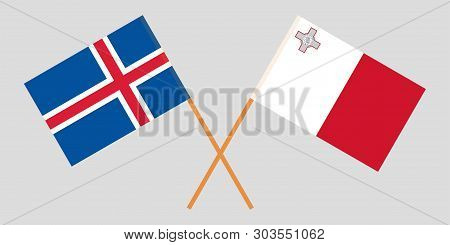 Malta And Iceland. Maltese And Icelandic Flags. Official Colors. Correct Proportion. Vector Illustra