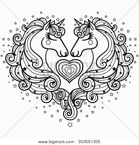 Two Unicorns With A Long Mane. The Magical Animal. Black And White. Coloring Pages For Adults And Ch