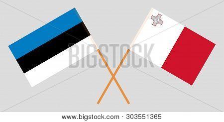 Malta And Estonia. The Maltese And Estonian Flags. Official Colors. Correct Proportion. Vector