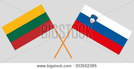 Slovenia And Lithuania. Slovenian And Lithuanian Flags. Official Colors. Correct Proportion. Vector