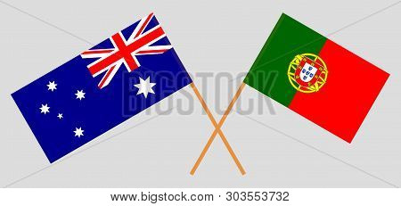 Australia And Portugal. The Australian And Portuguese Flags. Official Colors. Correct Proportion. Ve