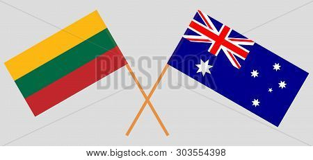 Australia And Lithuania. The Australian And Lithuanian Flags. Official Colors. Correct Proportion. V