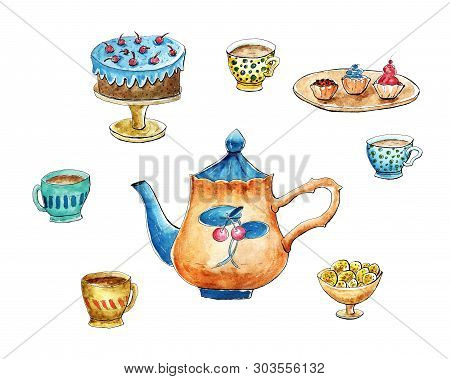 Tea Time Set. Teapot, Cups, Cake, Cookies, Cupcakes. Isolated Clipart, Watercolor Mixed Media