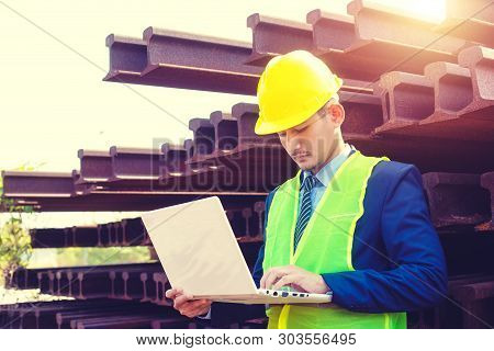 Construction Worker Planning Contractor Checking  At Site Gas, Oil, Energy And Factory Construction.