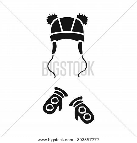 Vector Design Of Hat  And Pompom Icon. Set Of Hat  And Kids   Stock Vector Illustration.