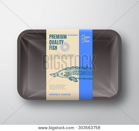 Premium Quality Sturgeon. Abstract Vector Fish Plastic Tray With Cellophane Cover Packaging Design L