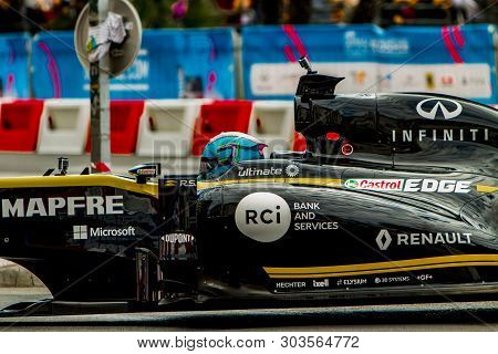 Nice, France - May 1, 2019: Daniel Ricciardo In Renault Formula One Racing Car In Nice, France. It I