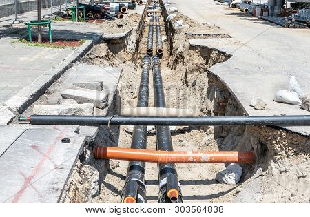 District Heating, District Heating Pipeline Reparation And Reconstruction Site Parallel With The Str