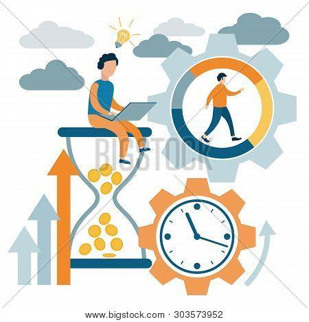 Time Management, Control. Time Is Money. Lack Of Time. Vector Illustration Flat Design.
