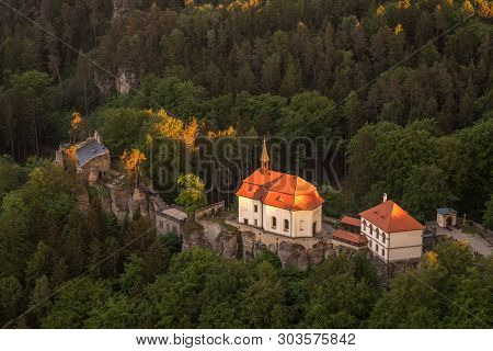 Valdstejn Castle In The Bohemian Paradise From Above