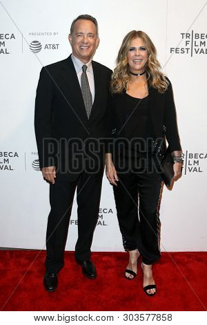 NEW YORK - APR 26: Actors Rita Wilson (R) and Tom Hanks attend 'The Circle' screening during the 2017 TriBeCa Film Festival at BMCC Tribeca PAC on April 26, 2017 in New York City.
