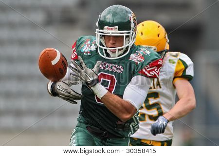 INNSBRUCK, AUSTRIA - JULY 10: WR Josh Alfonso (#8 Mexico) drops the ball at the Football World Championship on July 10, 2011 in Innsbruck, Austria. Mexico wins 65:0 against Australia.