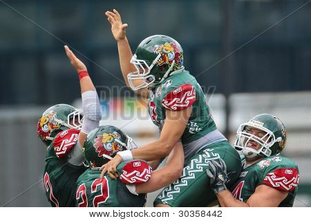 INNSBRUCK, AUSTRIA - JULY 10: K Jose Maltos (#19 MEX) celebrates after a field goal at the Football World Championship on July 10, 2011 in Innsbruck, Austria. Mexico wins 65:0 against Australia.