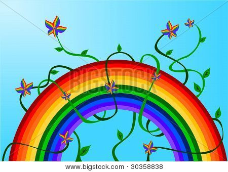 Rainbow with rainbow flowers